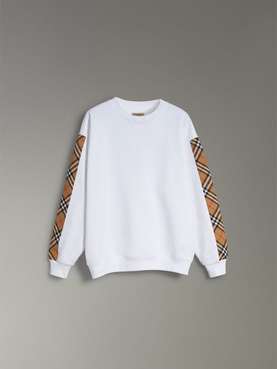 Vintage Check Detail Cotton Blend Sweatshirt in White - Women | Burberry Canada - cell image 3