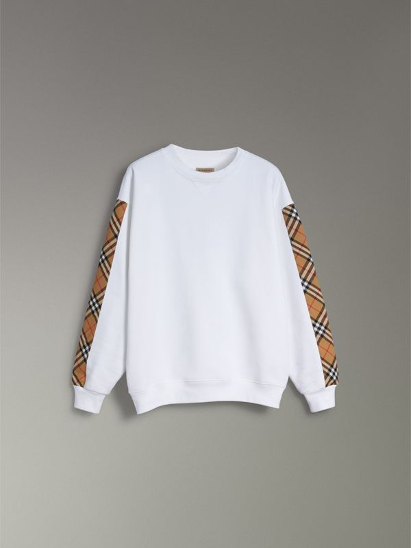 Vintage Check Detail Cotton Blend Sweatshirt in White - Women | Burberry Singapore - cell image 3