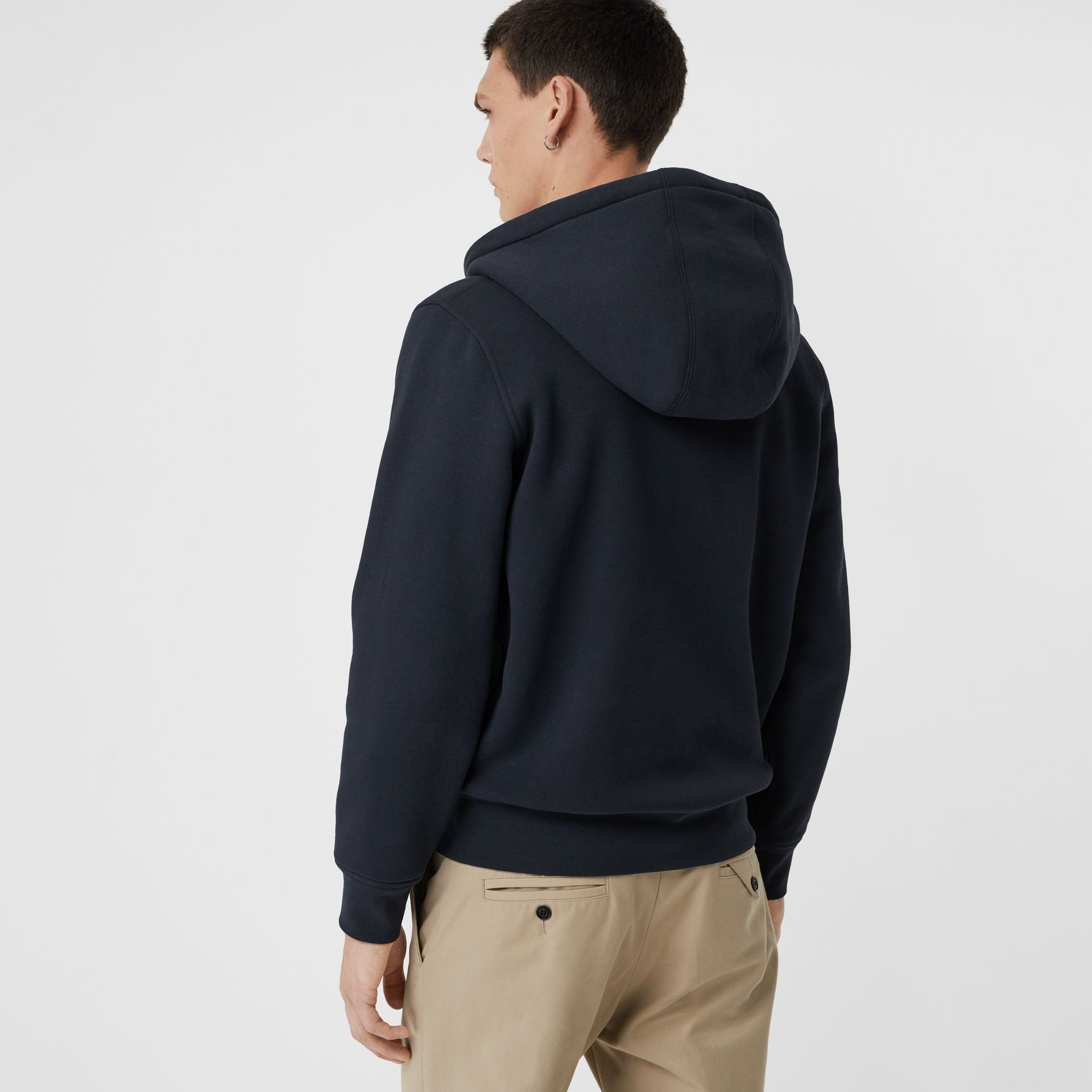 Check Detail Jersey Hooded Top in Navy - Men | Burberry United Kingdom - gallery image 2