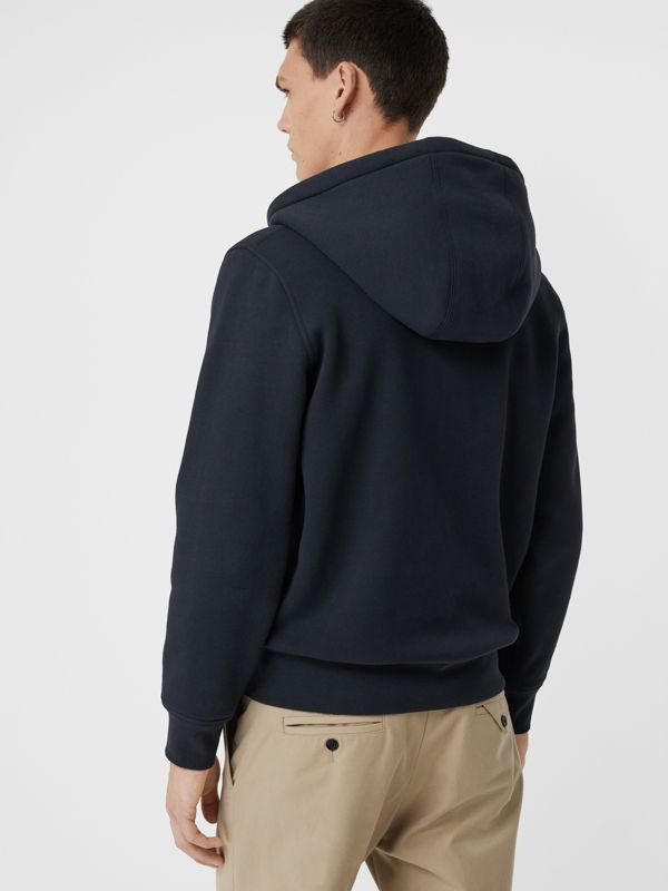 Check Detail Jersey Hooded Top in Navy - Men | Burberry Australia - cell image 2