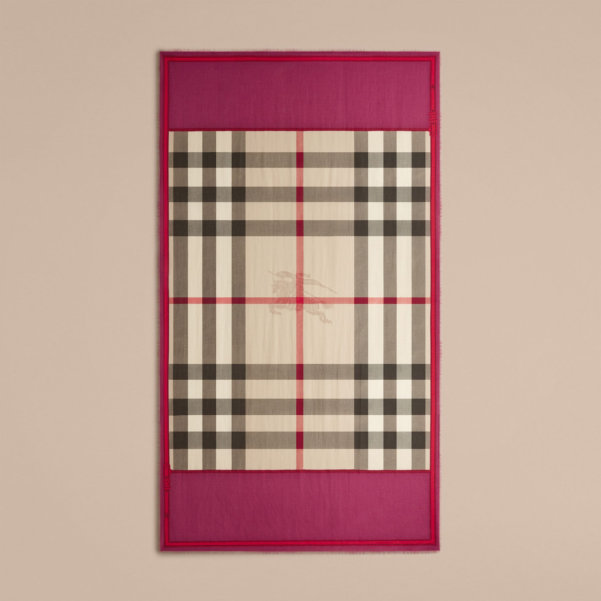 Magenta pink Contrast Border Horseferry Check Cashmere Scarf Magenta Pink - gallery image 4