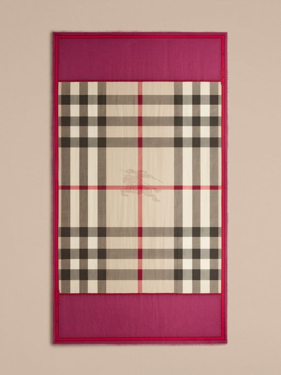 Magenta pink Contrast Border Horseferry Check Cashmere Scarf Magenta Pink - cell image 3
