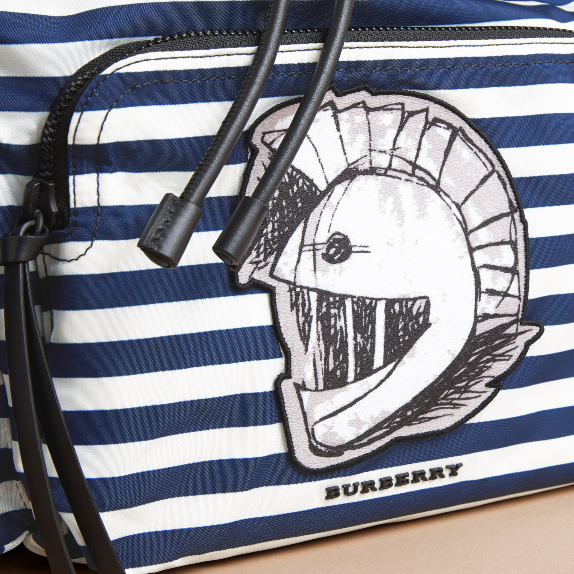 The Large Rucksack in Striped Nylon with Pallas Helmet Motif - gallery image 2