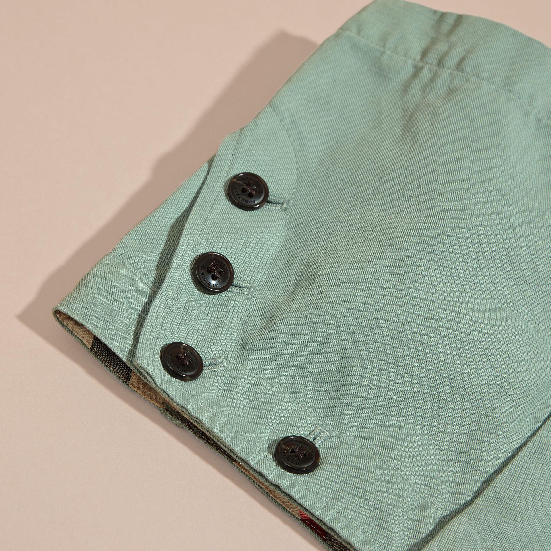 Pale eucalyptus Button Detail Cotton Linen Shorts - gallery image 2