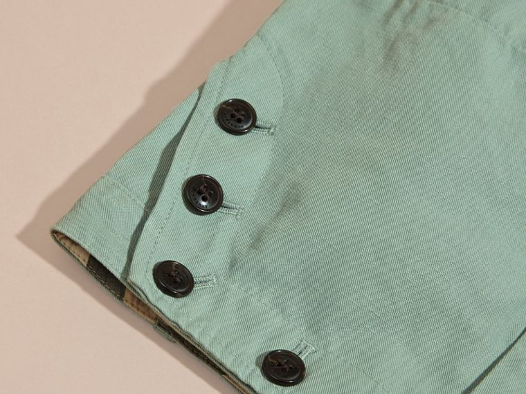 Pale eucalyptus Button Detail Cotton Linen Shorts - cell image 1