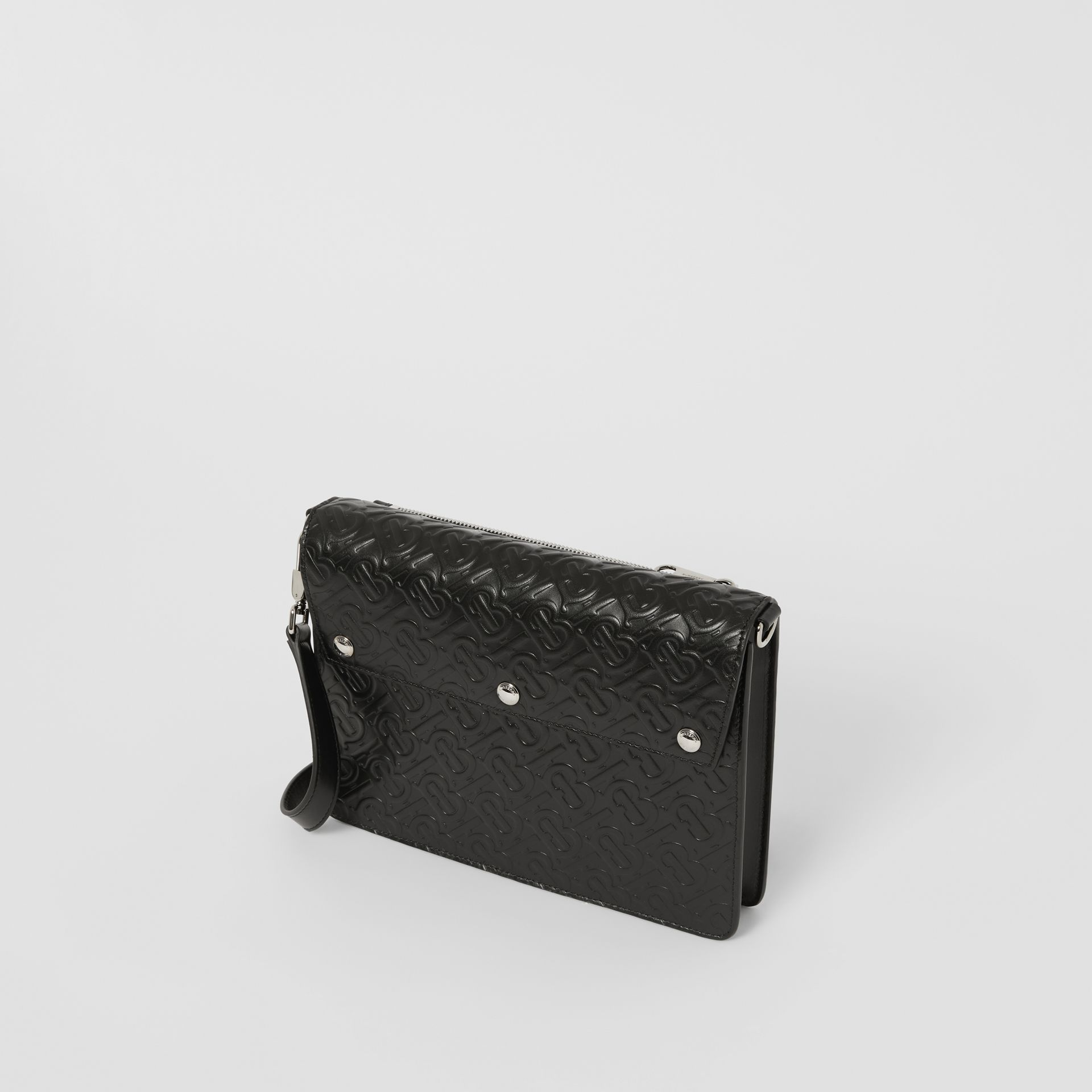 Triple Stud Monogram Leather Crossbody Bag in Black - Men | Burberry - gallery image 3
