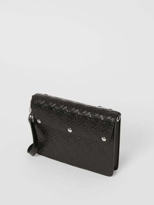 Triple Stud Monogram Leather Crossbody Bag in Black - Men | Burberry - cell image 3