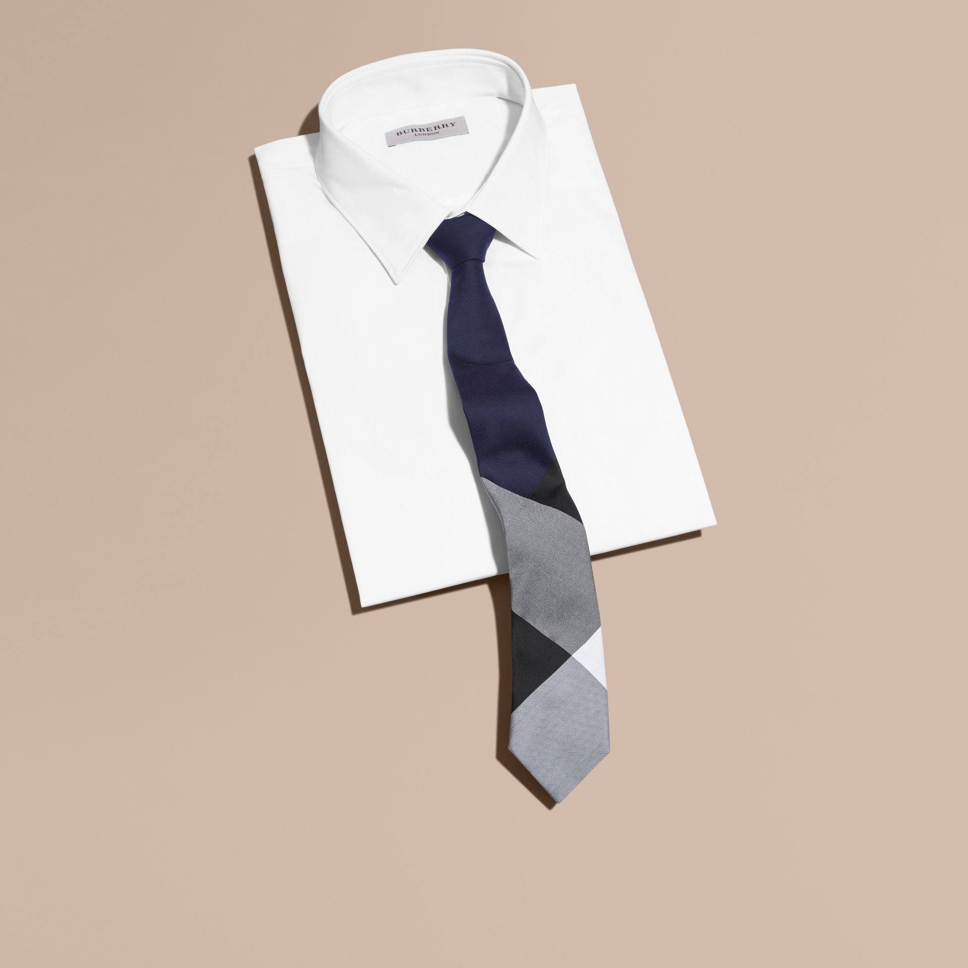 Slim Cut Check Silk Cotton Tie Navy - gallery image 4