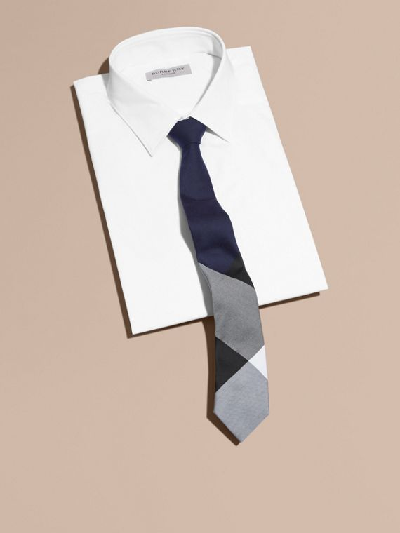 Slim Cut Check Silk Cotton Tie Navy - cell image 3