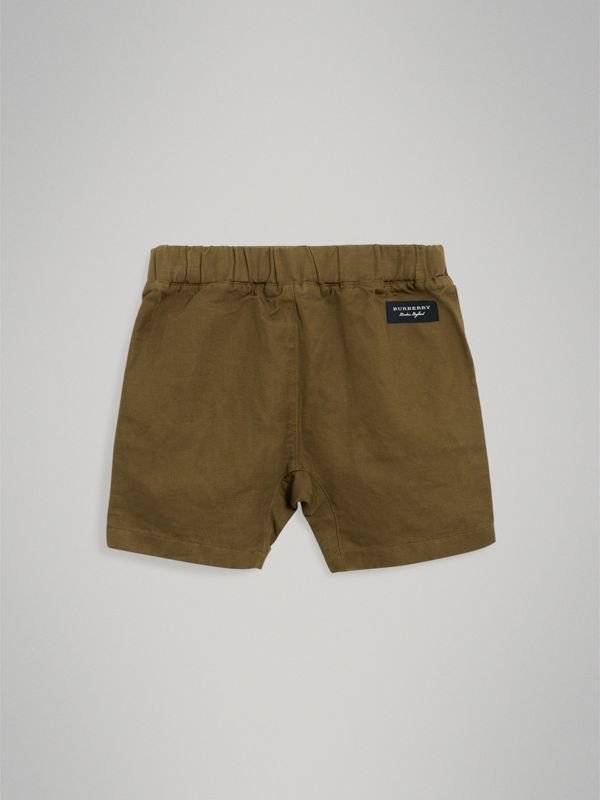 Drawcord Cotton Linen Twill Shorts in Olive - Boy | Burberry - cell image 3