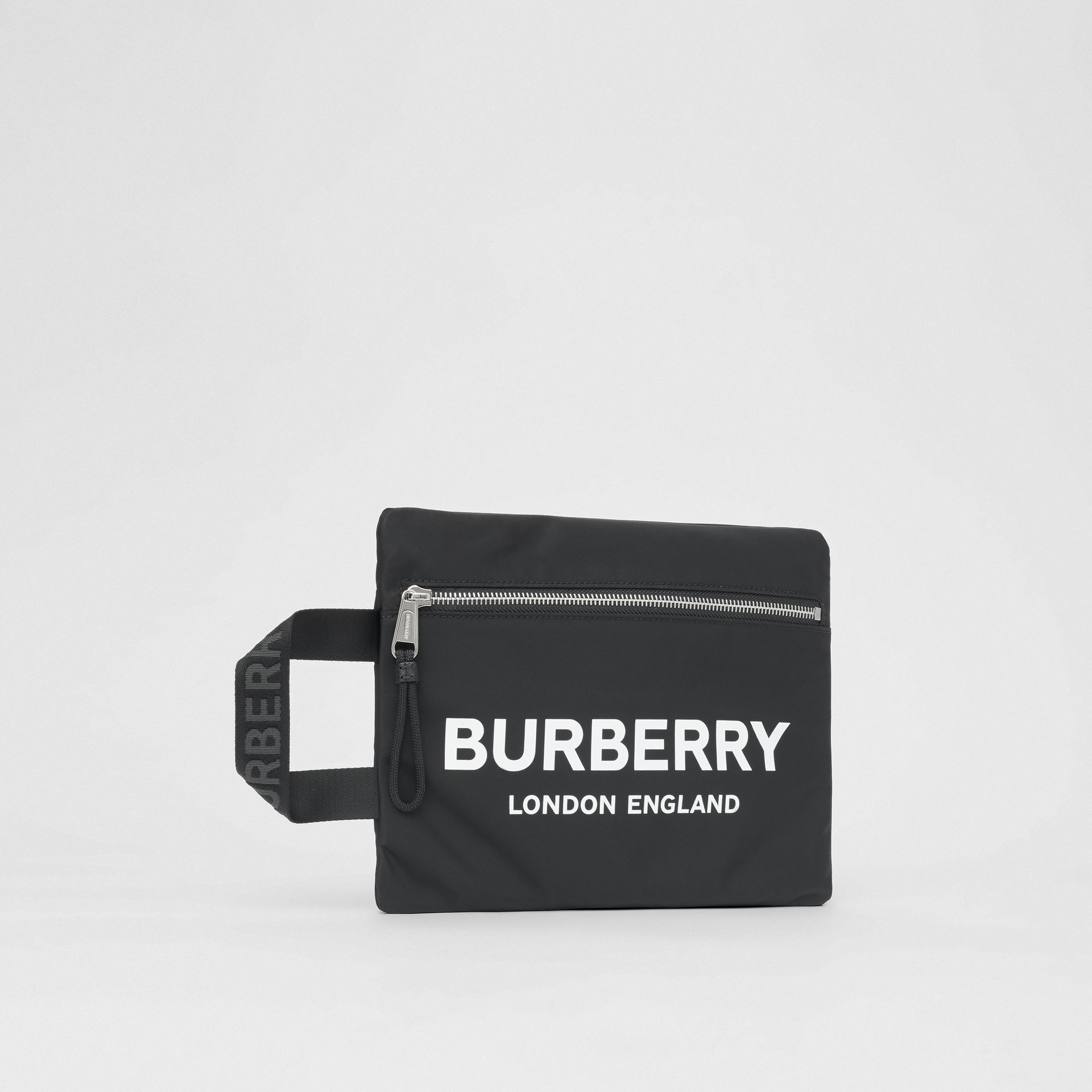 Logo Print ECONYL® Portrait Pouch in Black | Burberry - gallery image 8