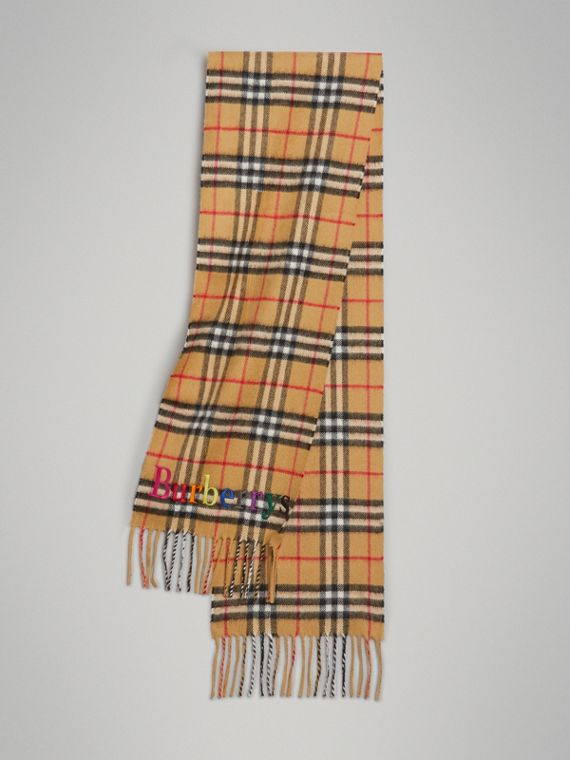 The Mini Classic Cashmere Scarf with Archive Logo in Antique Yellow