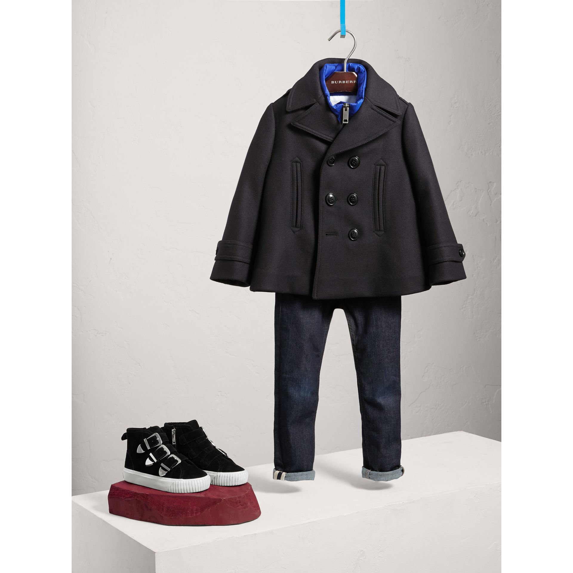 Wool Cashmere Pea Coat with Down-filled Gilet in Navy - Boy | Burberry United Kingdom - gallery image 0