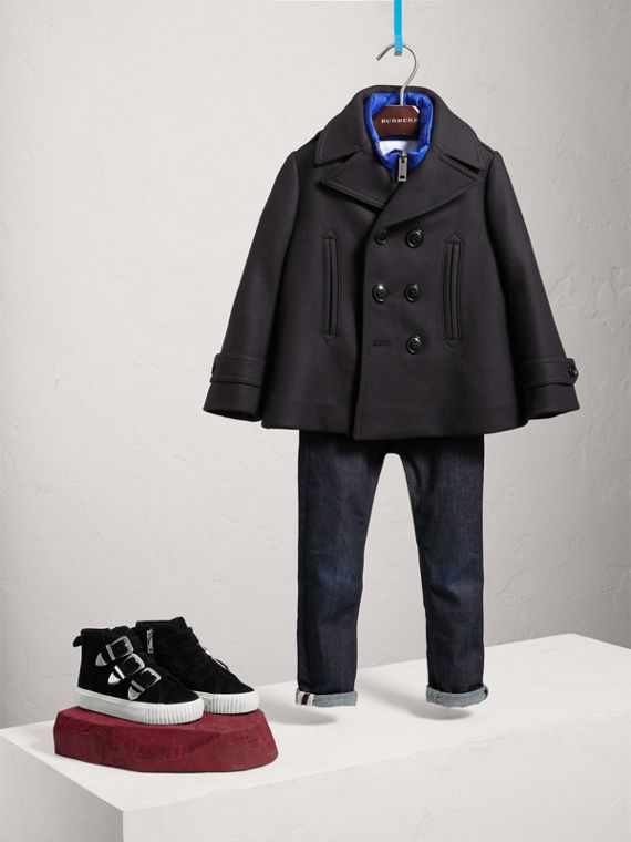 Wool Cashmere Pea Coat with Down-filled Gilet in Navy
