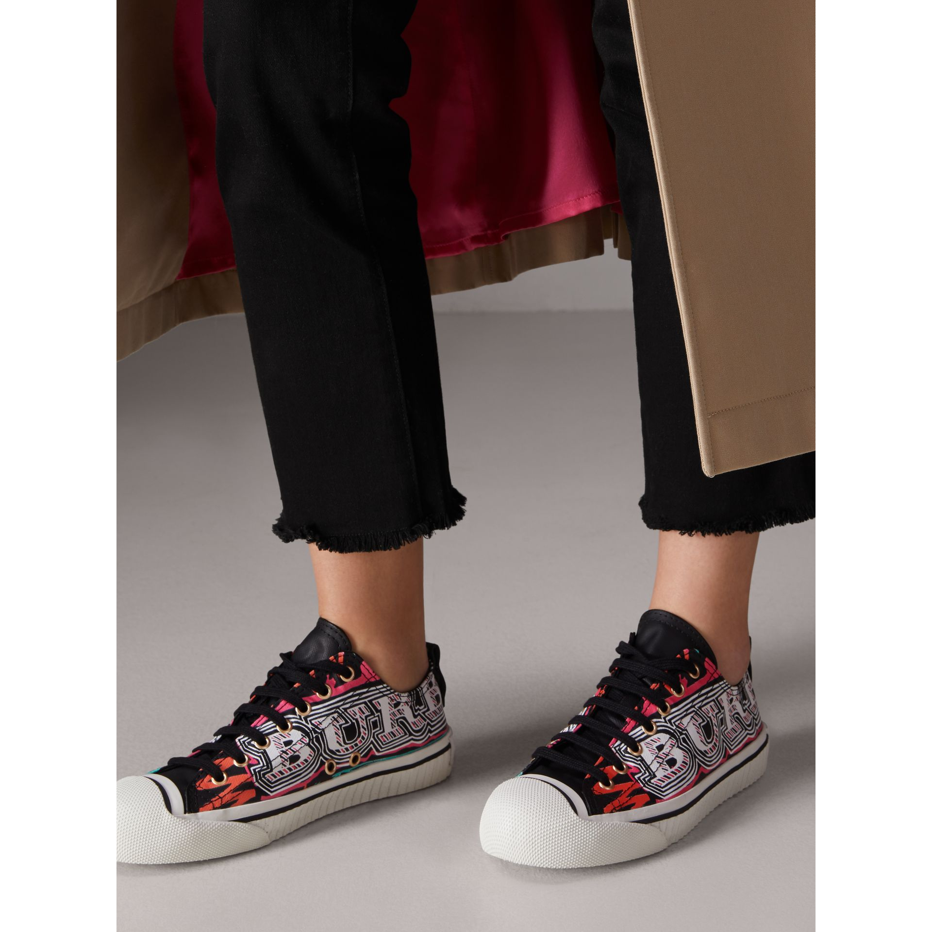 Doodle Print Coated Cotton Sneakers in Black - Women | Burberry - gallery image 2