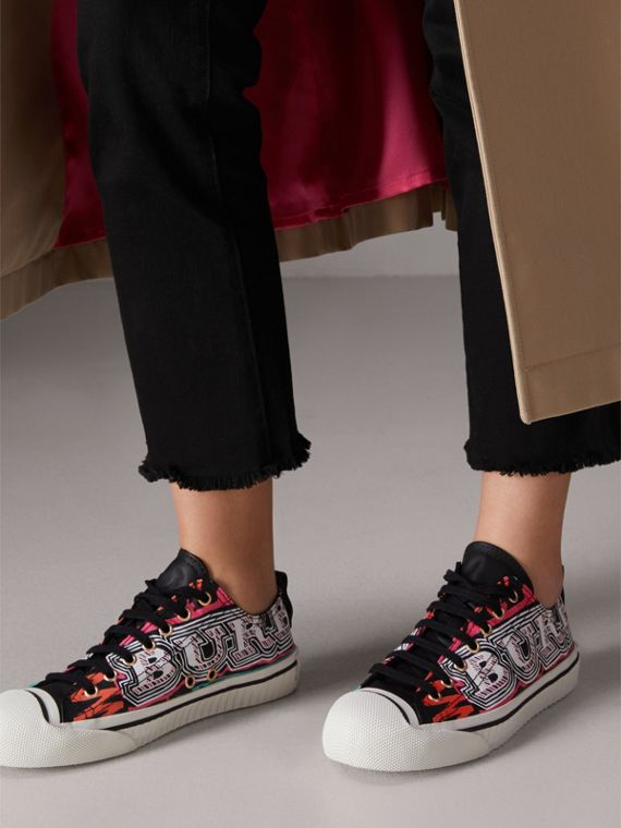 Doodle Print Coated Cotton Sneakers in Black - Women | Burberry Singapore - cell image 2