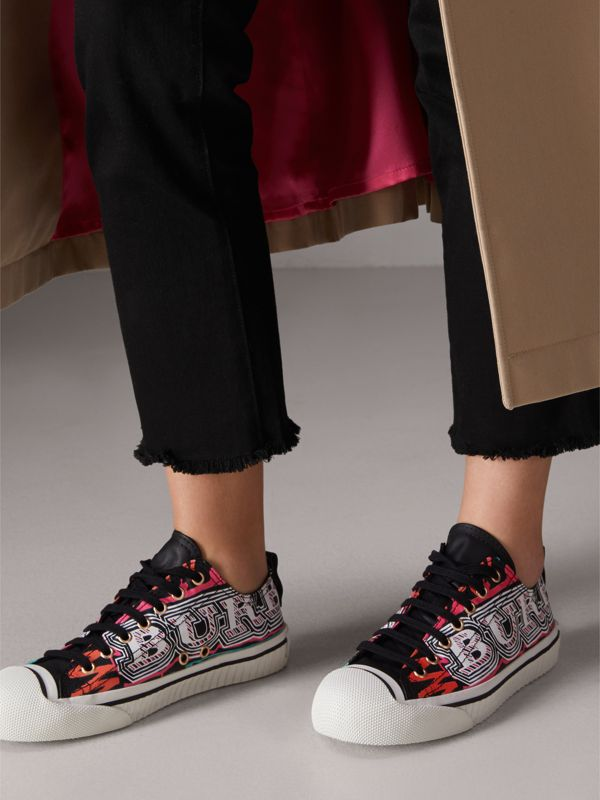 Doodle Print Coated Cotton Sneakers in Black - Women | Burberry - cell image 2