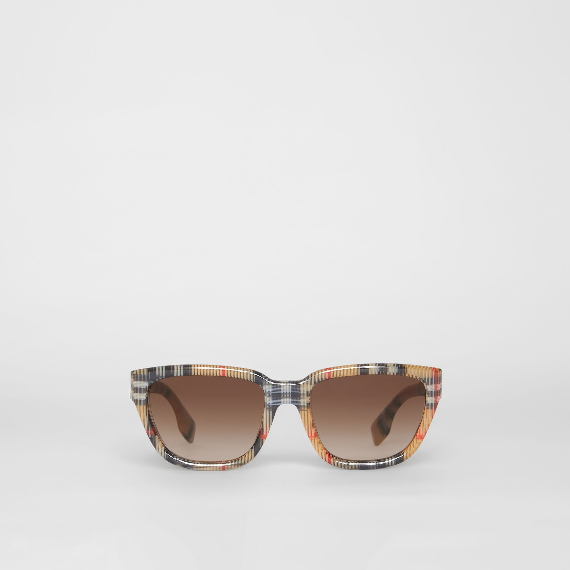 Vintage Check Detail Square Frame Sunglasses in Antique Yellow - Women | Burberry Singapore - gallery image 0