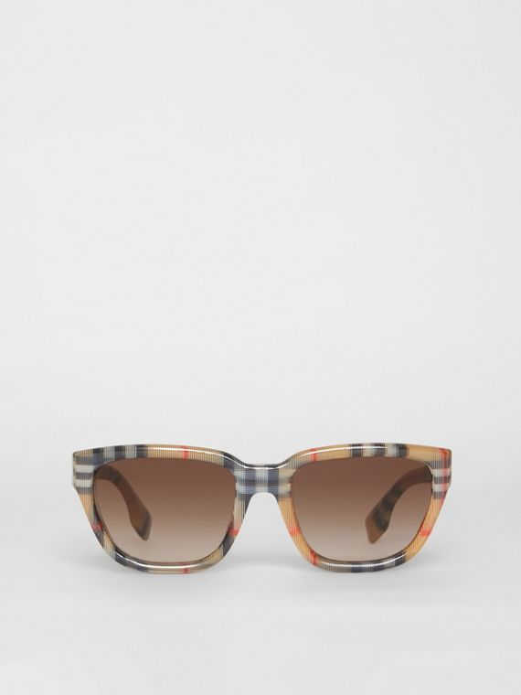 Vintage Check Detail Square Frame Sunglasses in Antique Yellow