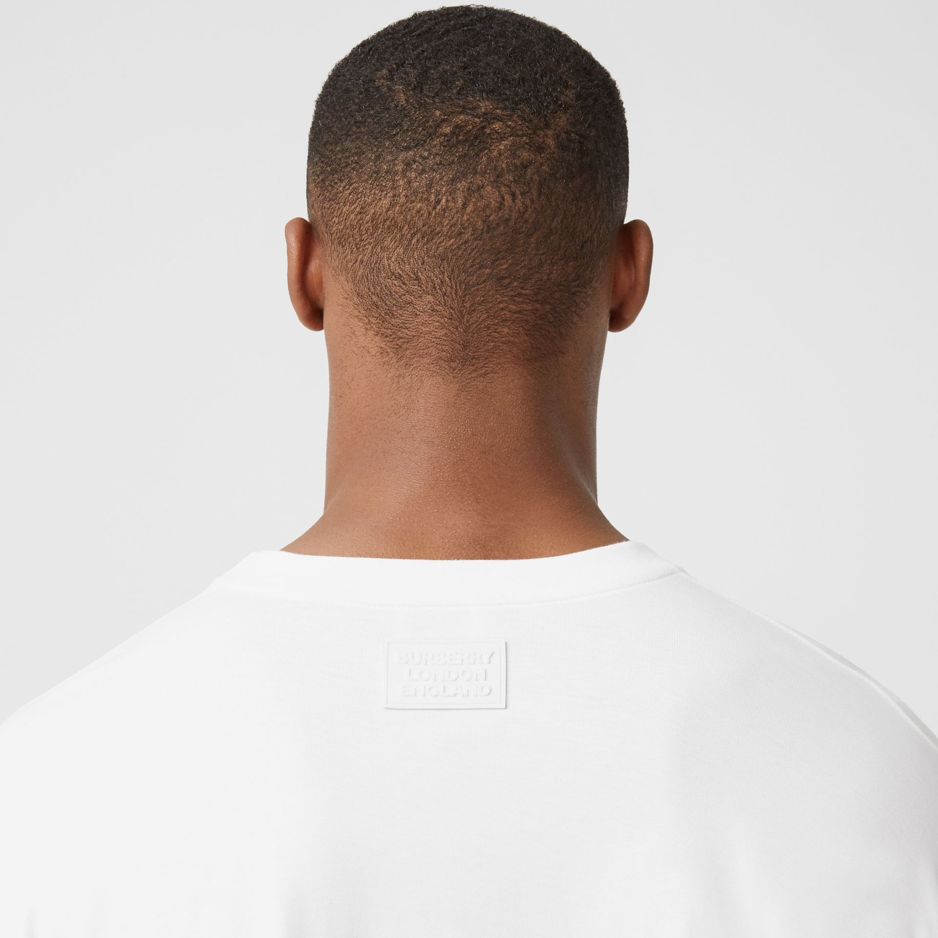 Crystal Sleeve Cut-out Hem Cotton Oversized T-shirt in Optic White | Burberry United Kingdom - gallery image 7