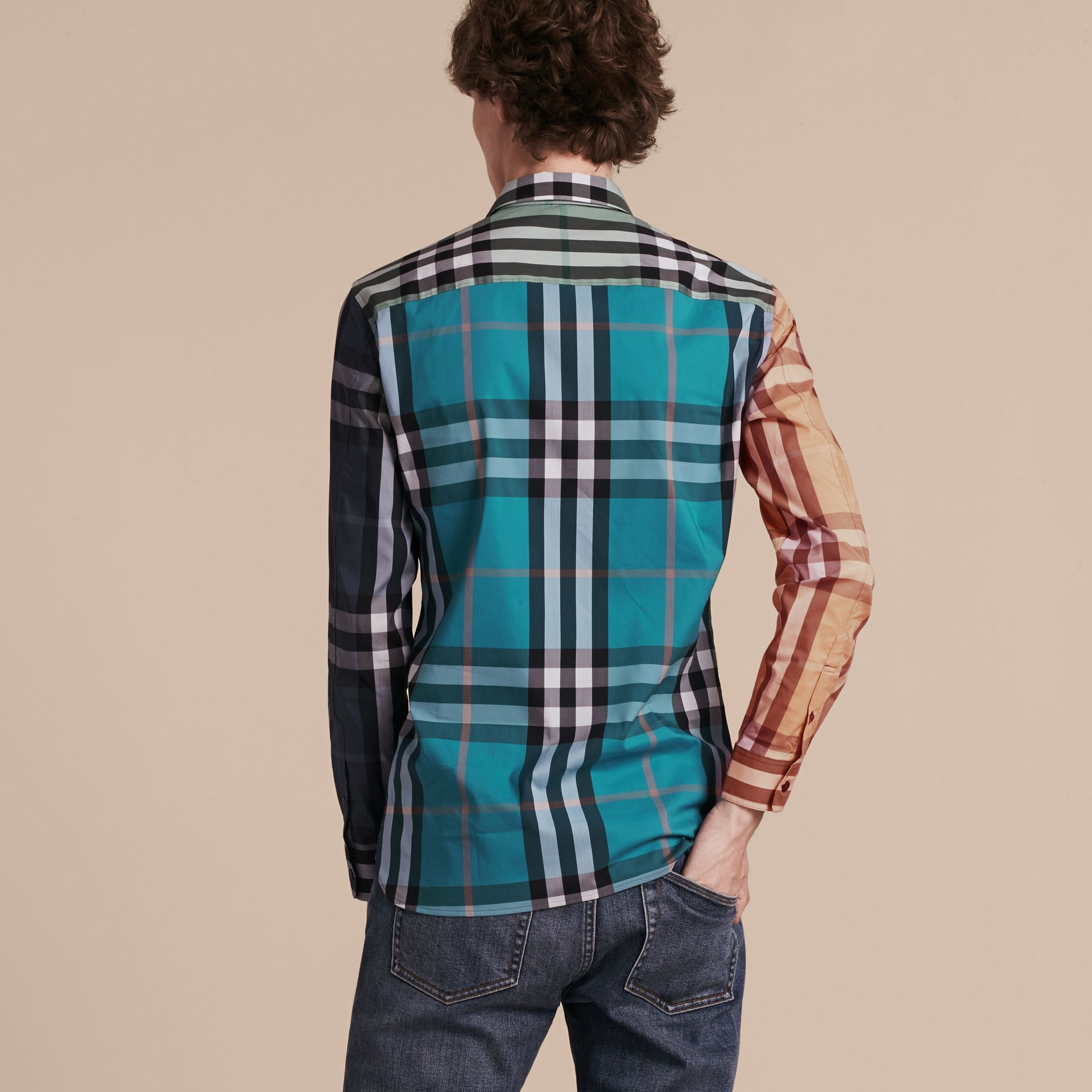 Cerulean blue Colour Block Check Cotton Blend Shirt Cerulean Blue - gallery image 3