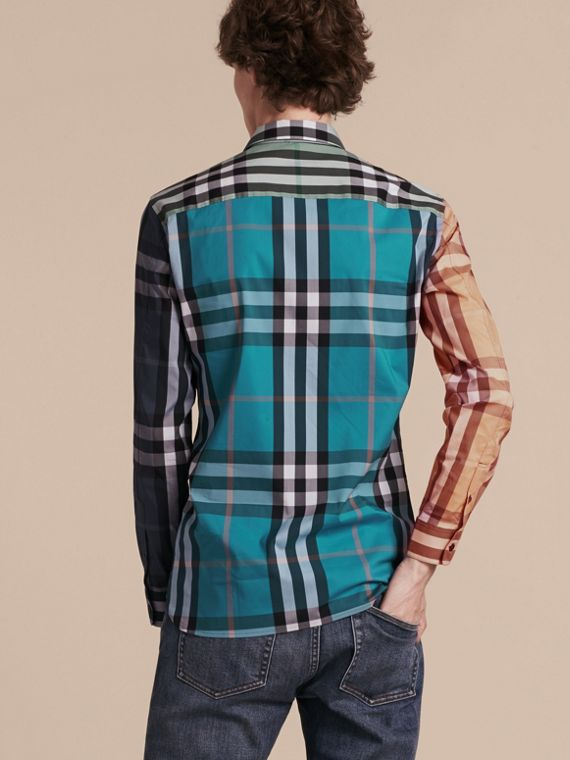 Cerulean blue Colour Block Check Cotton Blend Shirt Cerulean Blue - cell image 2