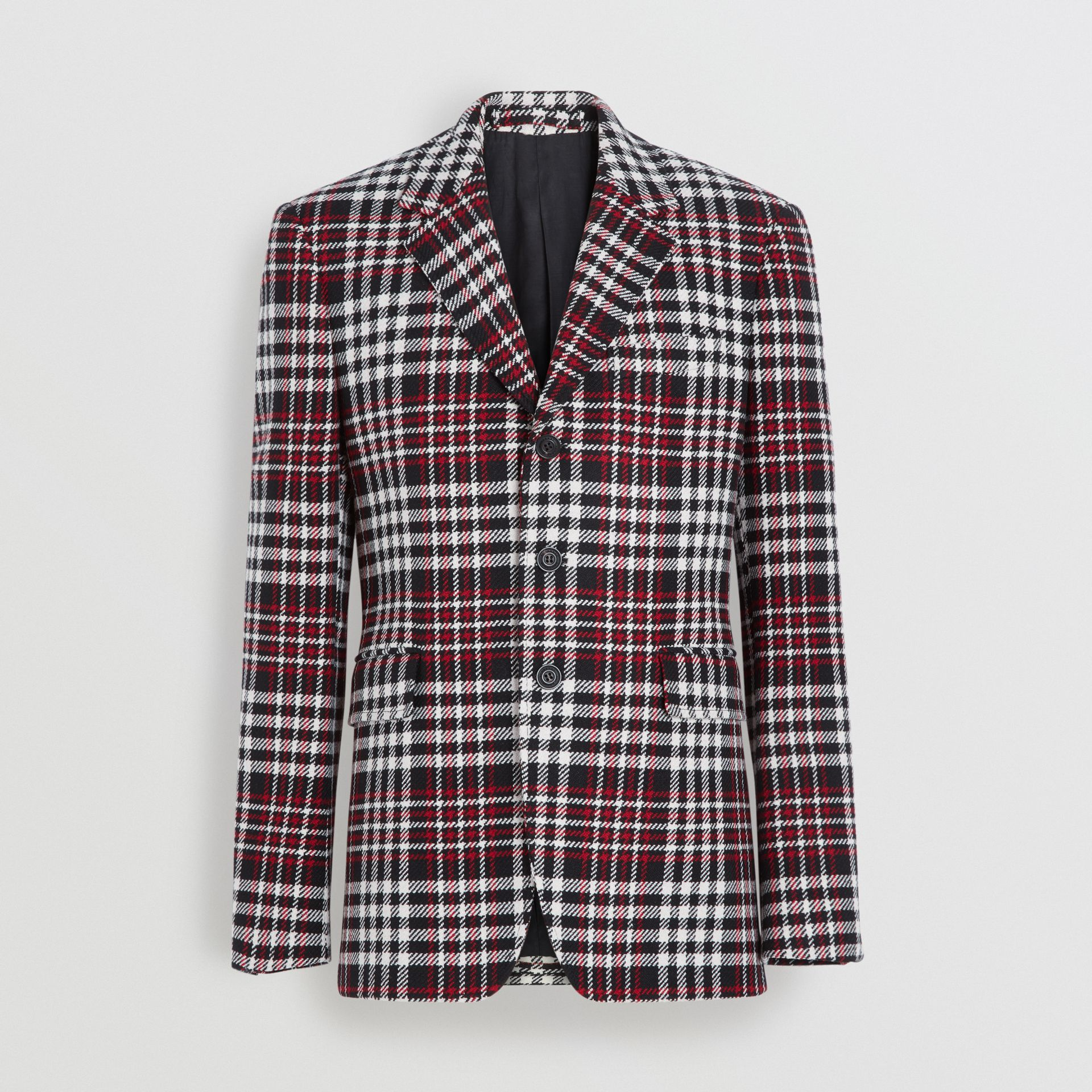 Veste de costume slim en laine tartan technique (Rouge) - Homme | Burberry - photo de la galerie 3