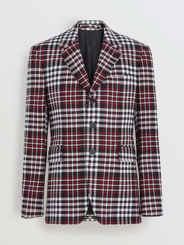 Slim Fit Tartan Technical Wool Tailored Jacket in Red - Men | Burberry - cell image 3