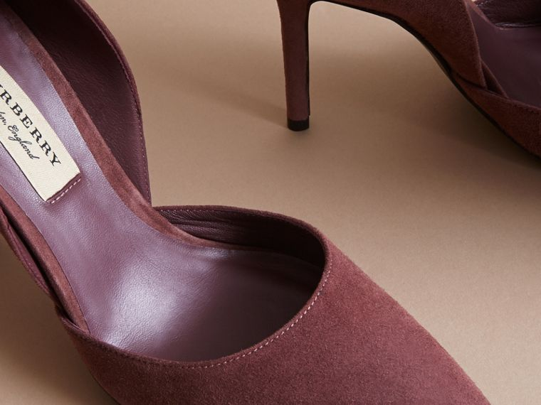 Point-toe Suede D'Orsay Pumps in Taupe Rose - Women | Burberry - cell image 4