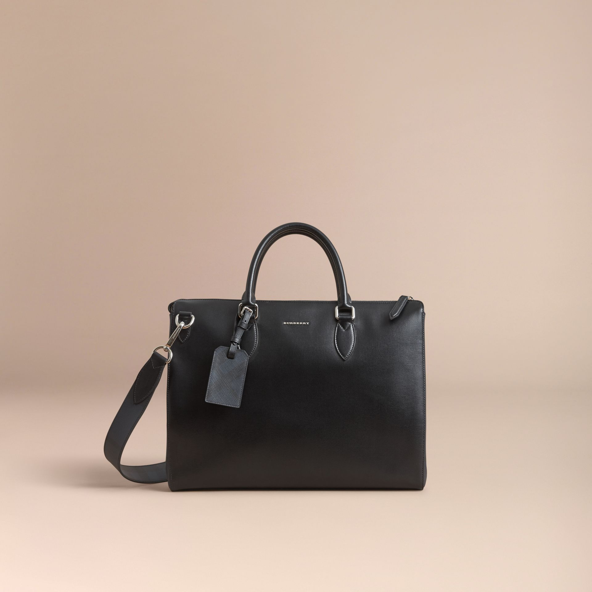 Large London Leather Briefcase in Black - Men | Burberry - gallery image 8