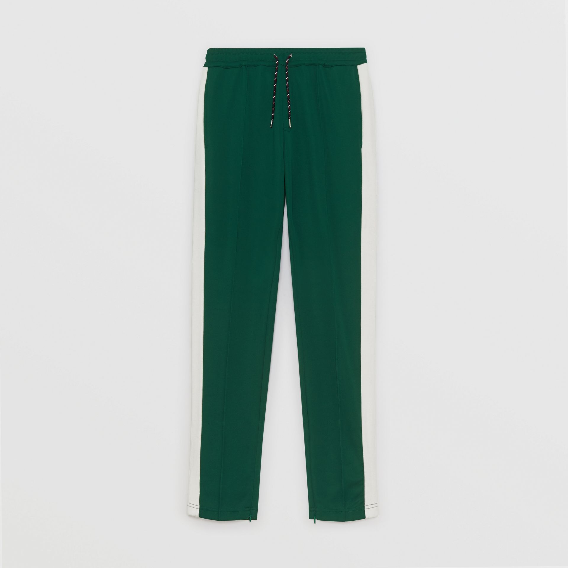 Sport Stripe Cotton Blend Drawcord Trousers in Opal Green - Men | Burberry Singapore - gallery image 3