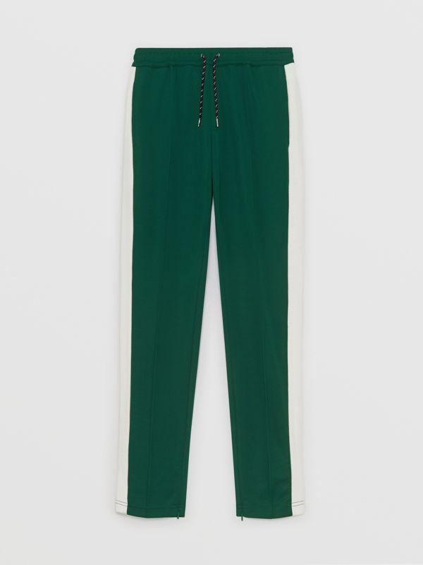 Sport Stripe Cotton Blend Drawcord Trousers in Opal Green - Men | Burberry Singapore - cell image 3
