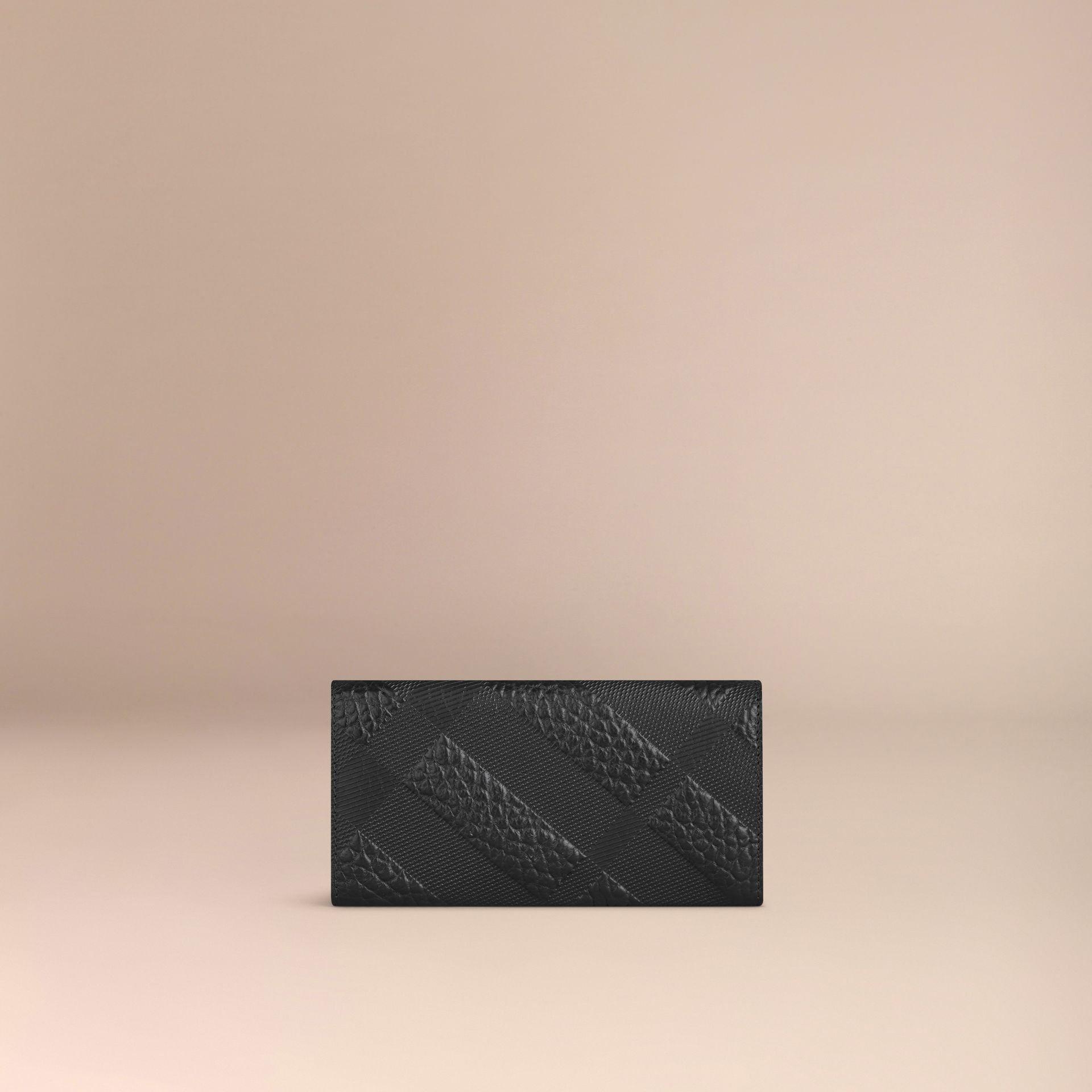 Black Embossed Check Leather Continental Wallet - gallery image 3