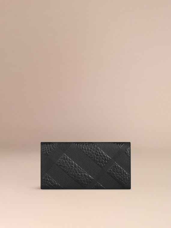 Black Embossed Check Leather Continental Wallet - cell image 2