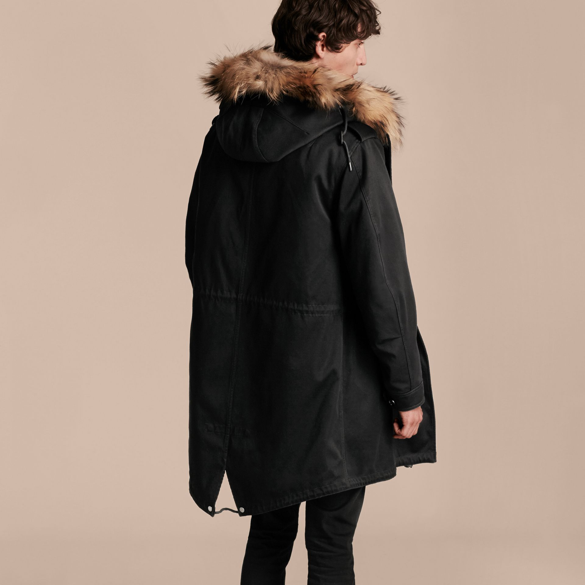 Black Cotton Sateen Parka with Fur Trim and Warmer - gallery image 3