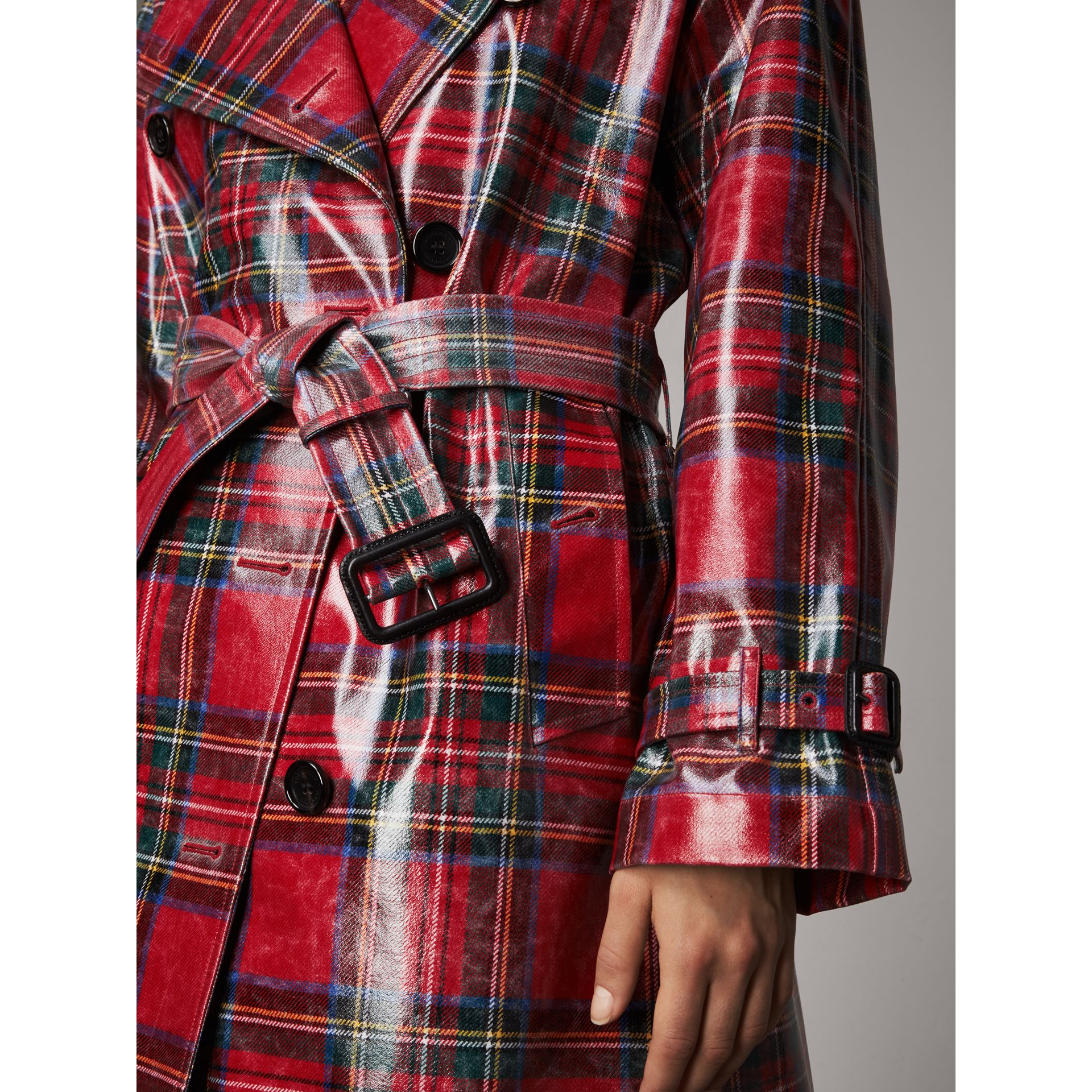 Laminated Tartan Wool Trench Coat in Bright Red - Women | Burberry United Kingdom - gallery image 1