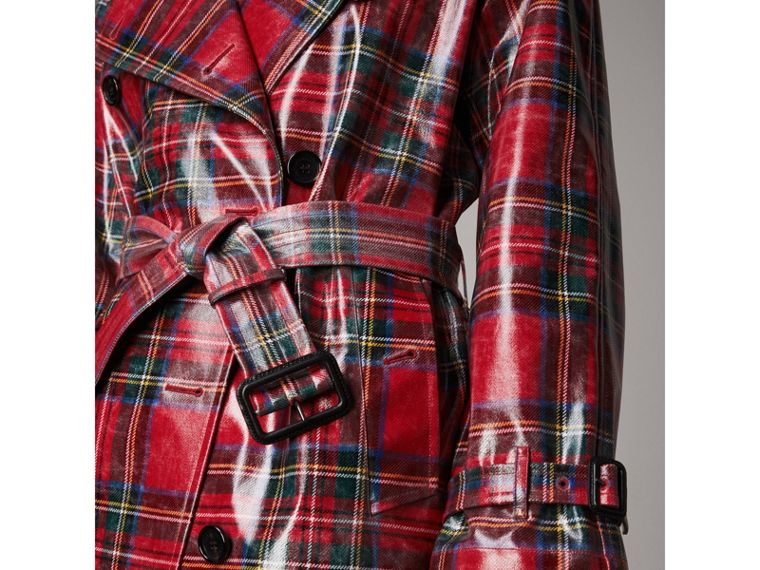 Laminated Tartan Wool Trench Coat in Bright Red - Women | Burberry - cell image 1
