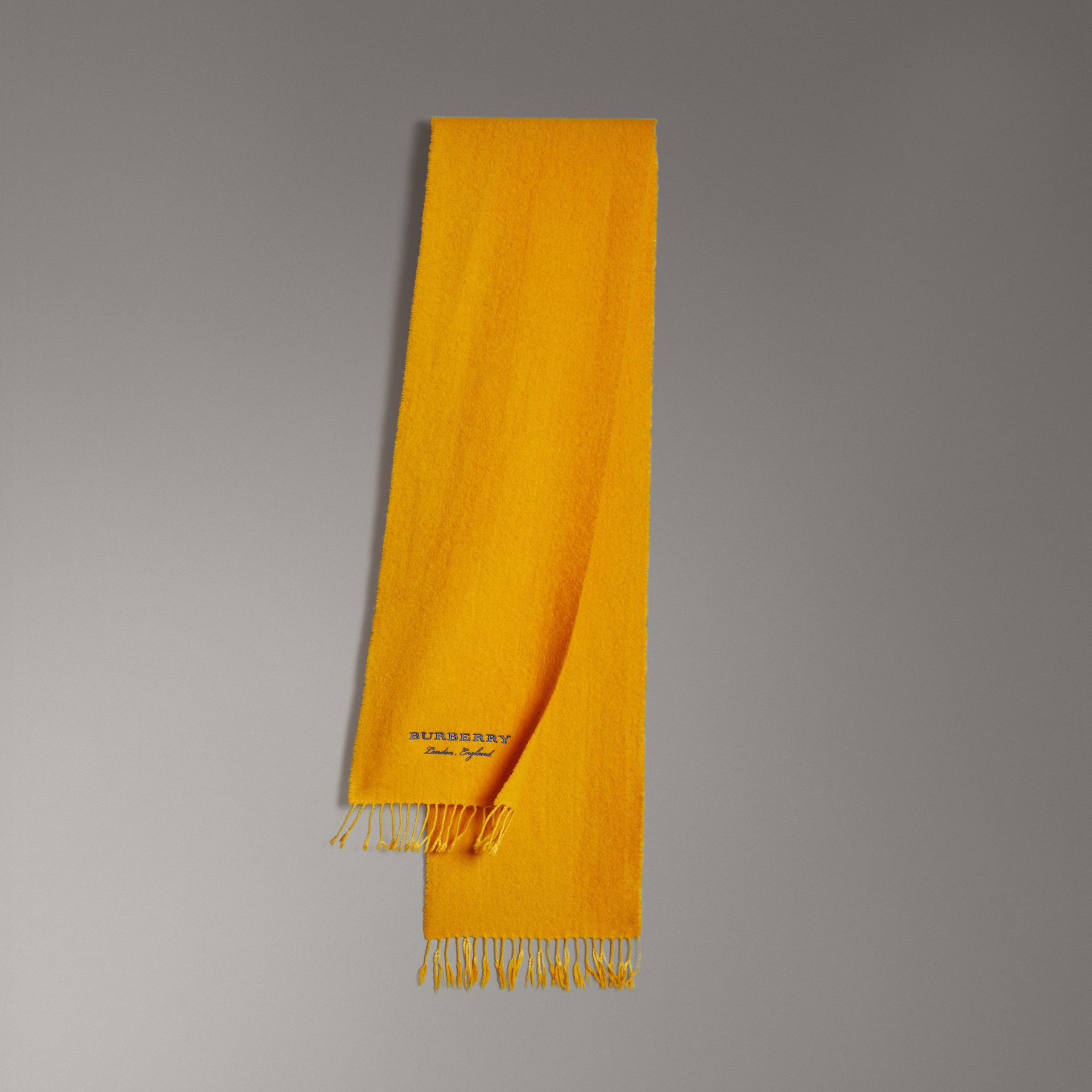 Embroidered Cashmere Fleece Scarf in Saffron Yellow | Burberry - gallery image 0