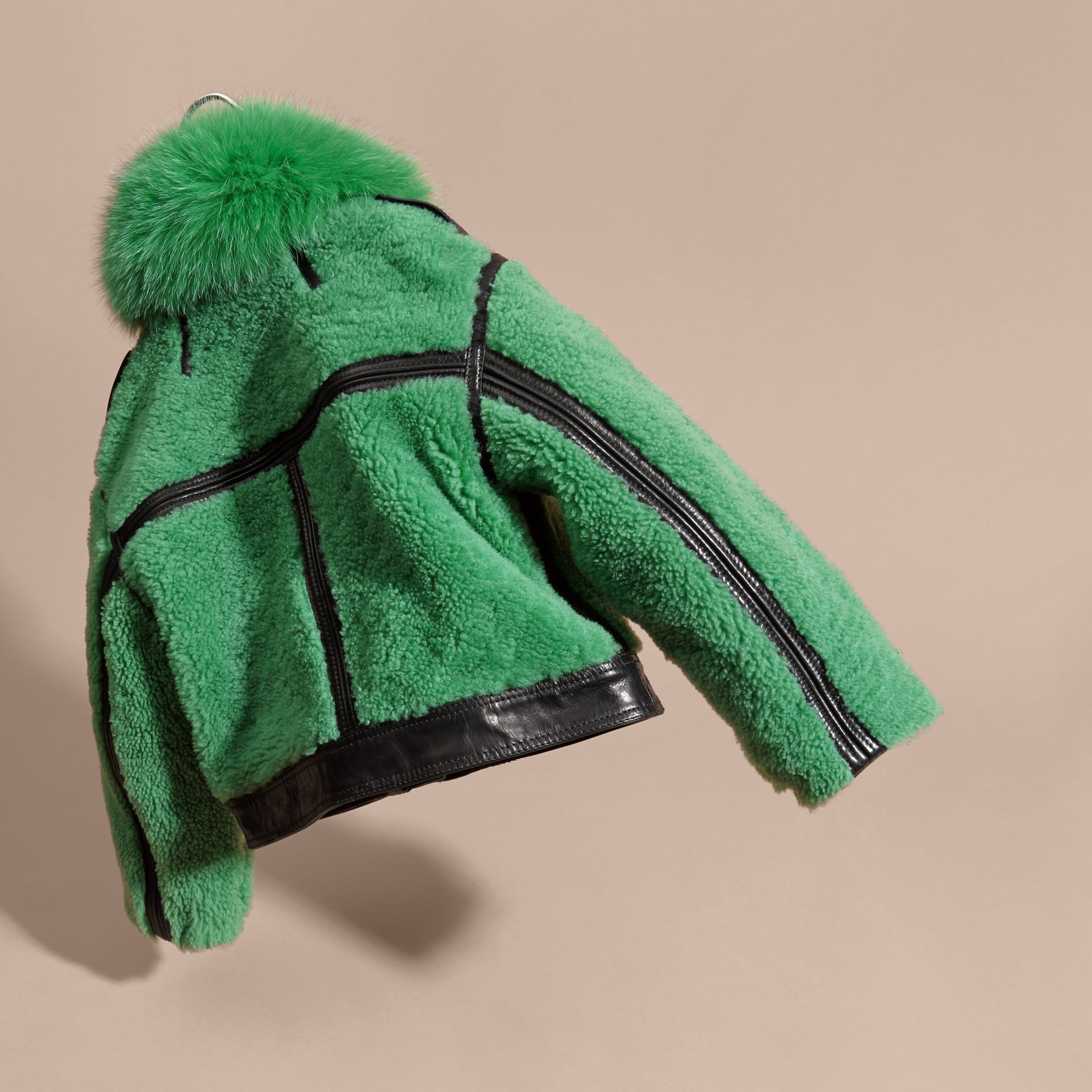 Pigment green Fox-collar Shearling Jacket - gallery image 4