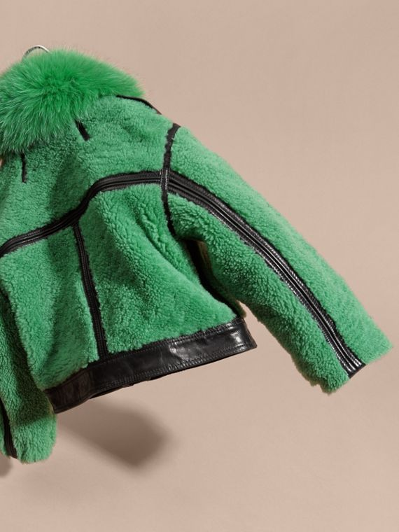 Verde pigmento Giacca in shearling con collo in volpe - cell image 3