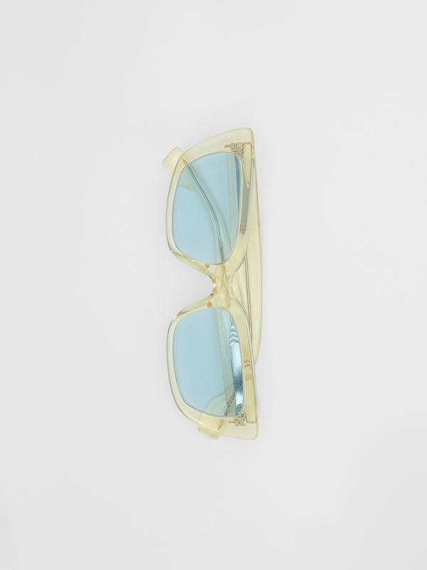 Bio-acetate Rectangular Frame Sunglasses in Pale Yellow | Burberry Australia - cell image 3