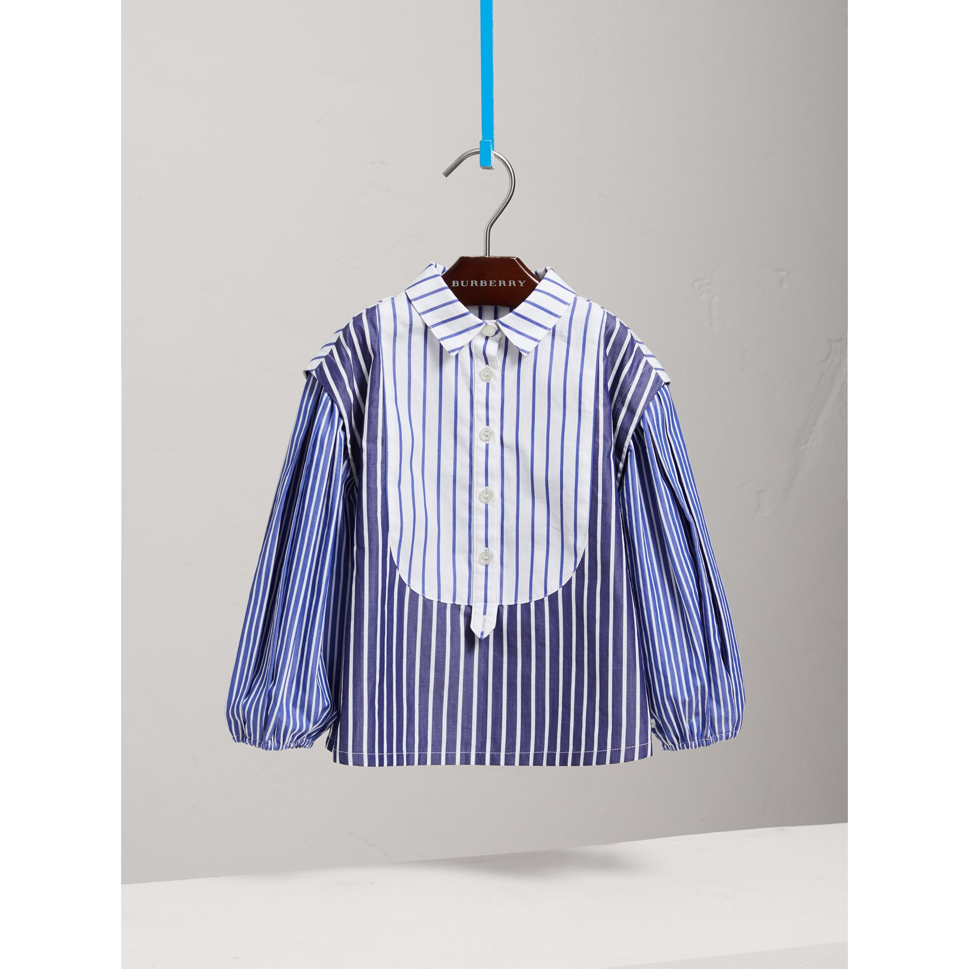 Contrasting Stripe Cotton Tunic Shirt in Indigo - Girl | Burberry - gallery image 0
