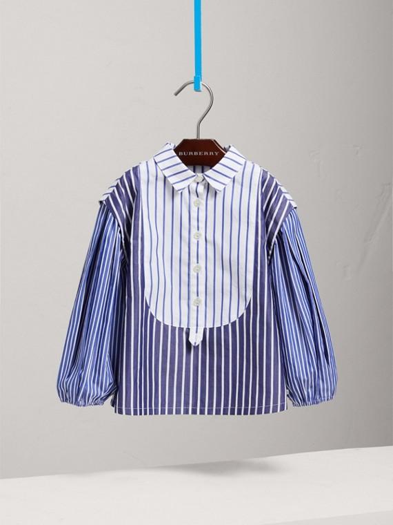 Contrasting Stripe Cotton Tunic Shirt in Indigo