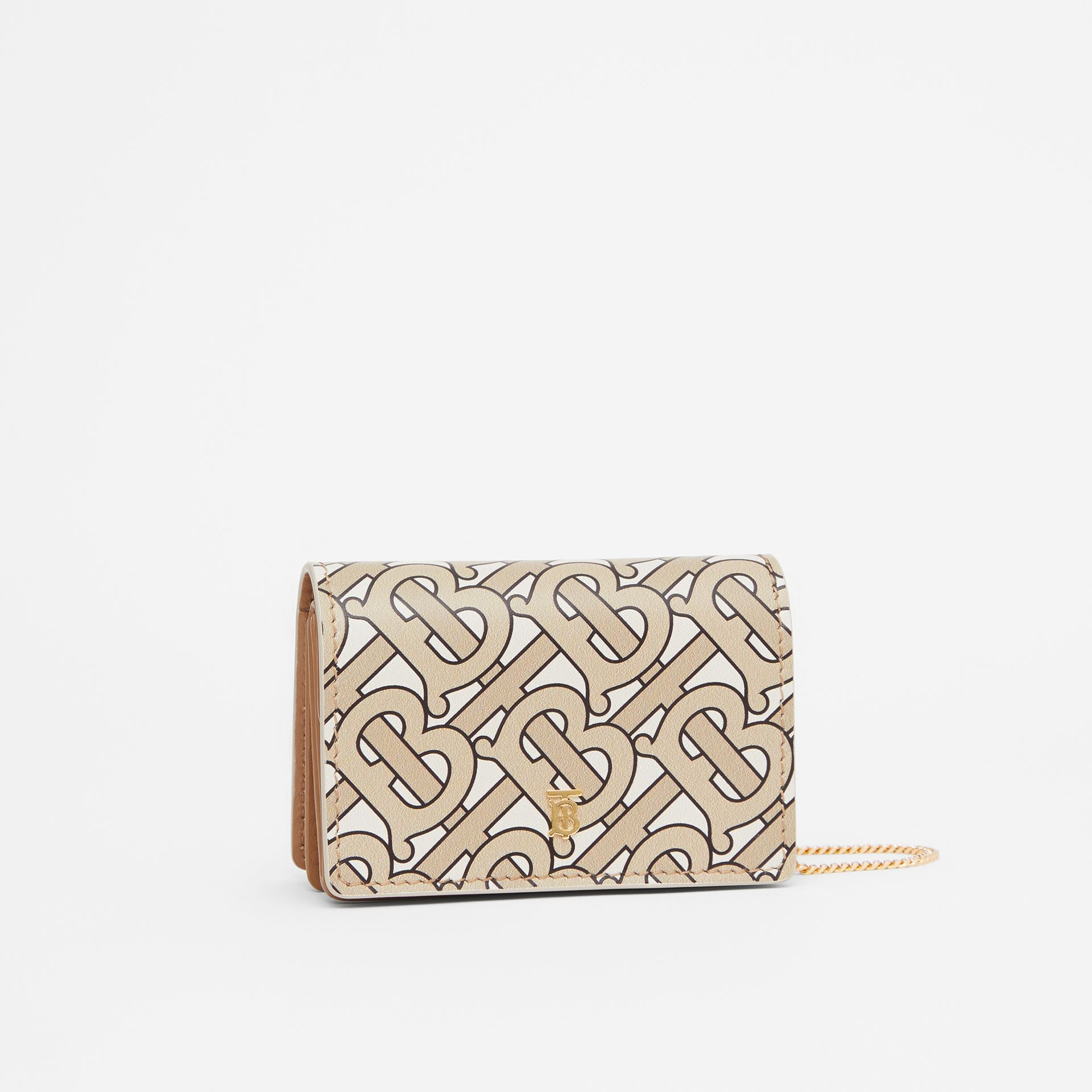 Monogram Print Card Case with Detachable Strap in Beige - Women | Burberry - gallery image 6