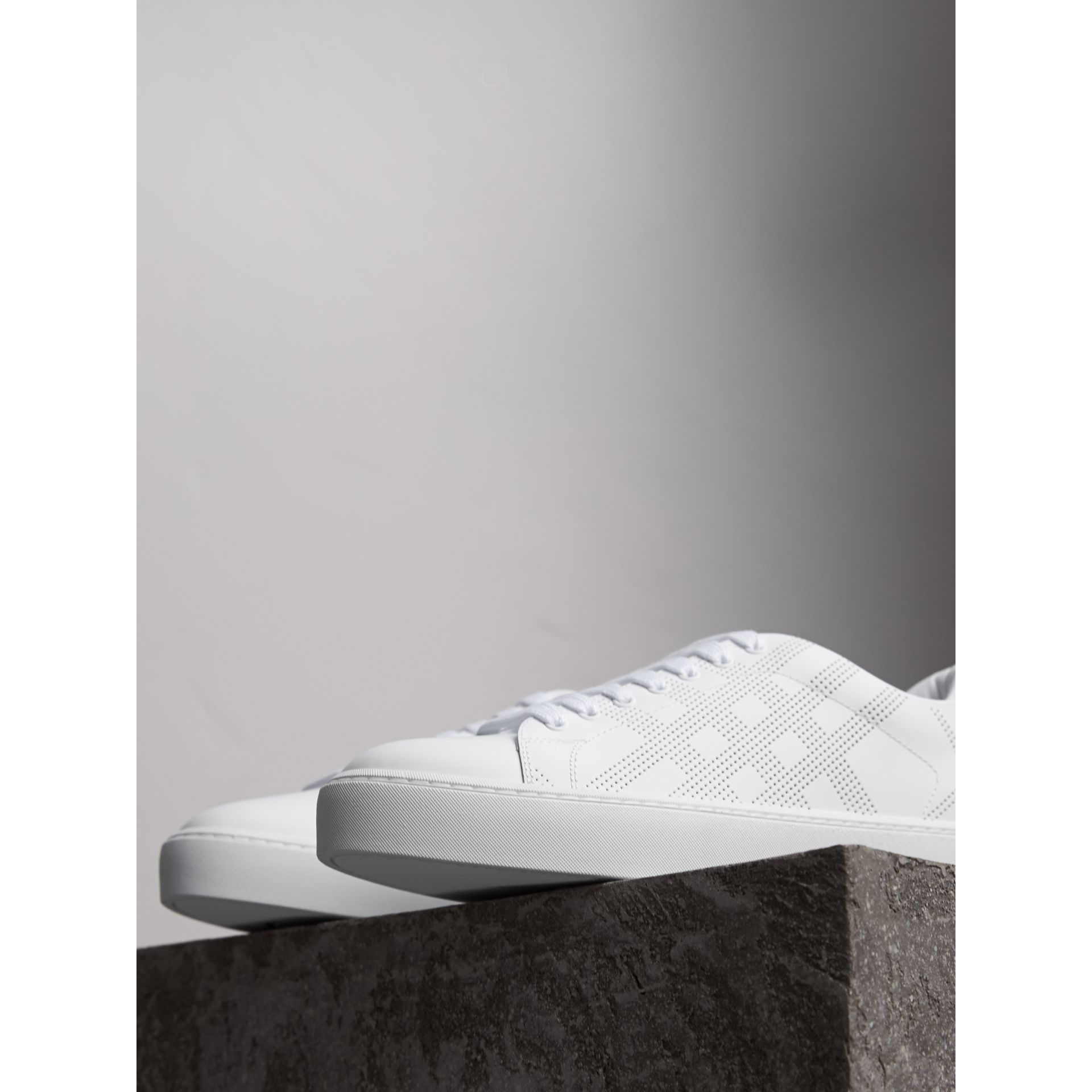Perforated Check Leather Trainers in Optic White - Women | Burberry United Kingdom - gallery image 6