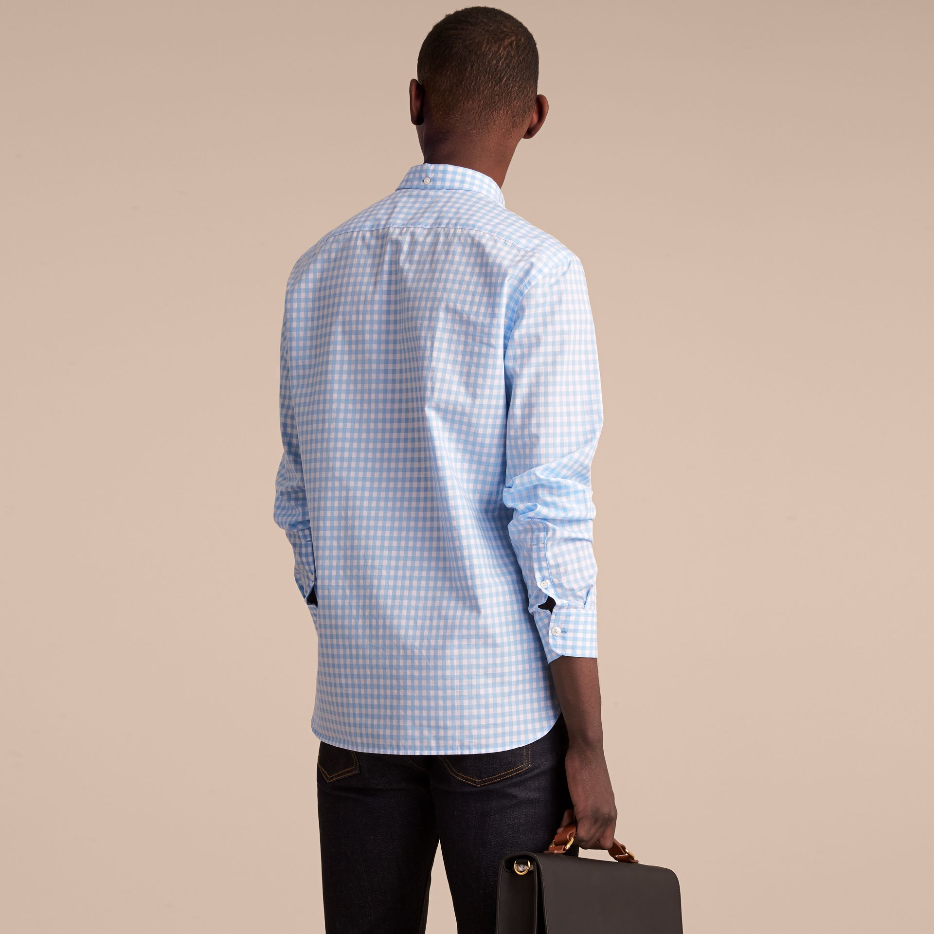 Button-down Collar Gingham Cotton Shirt Pale Blue - gallery image 3