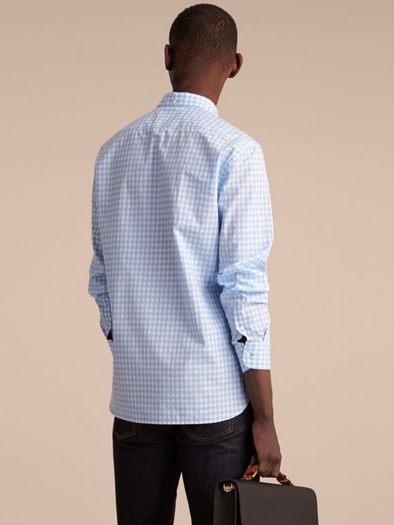 Button-down Collar Gingham Cotton Shirt in Pale Blue - Men | Burberry Canada - cell image 2
