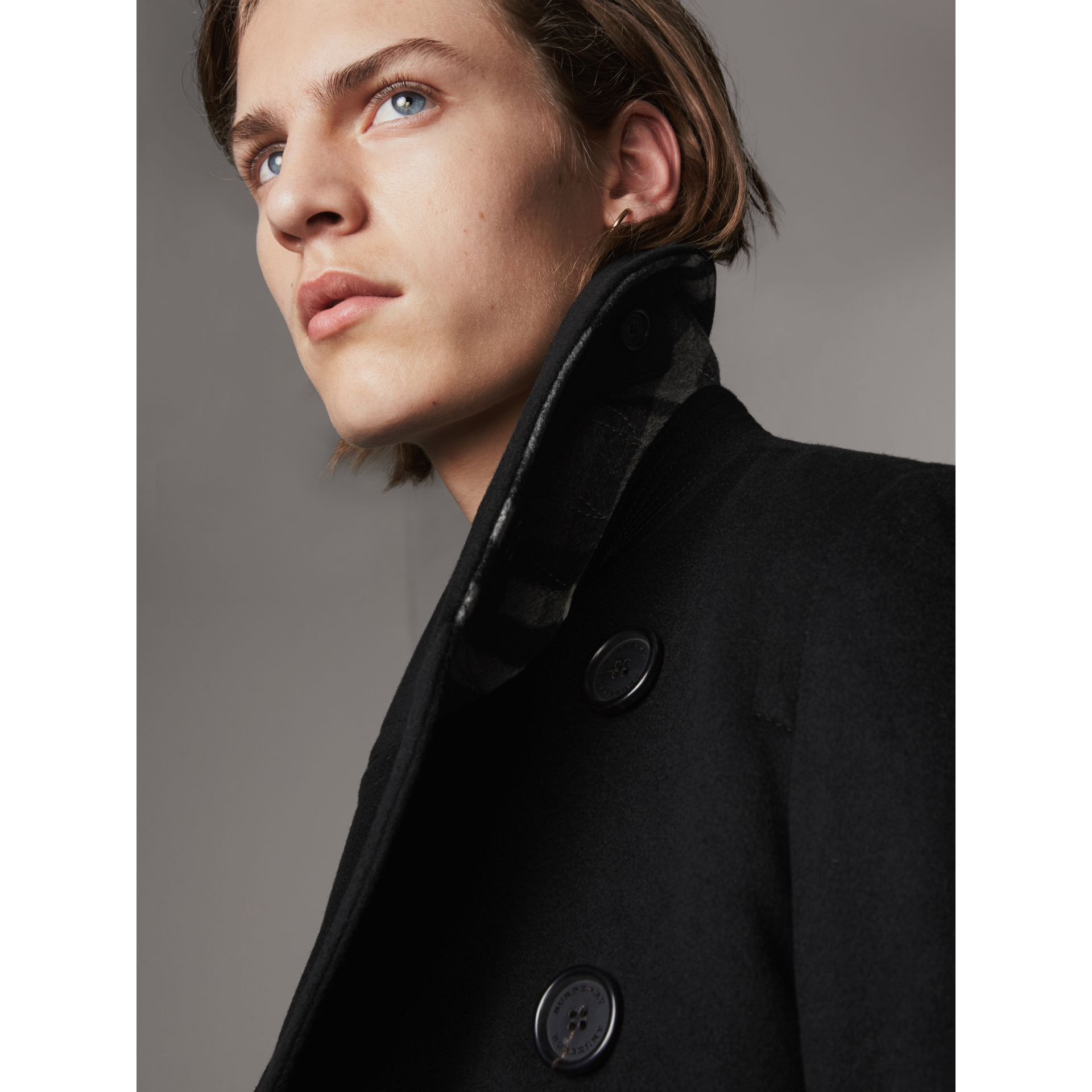 Wool Cashmere Pea Coat in Black - gallery image 2