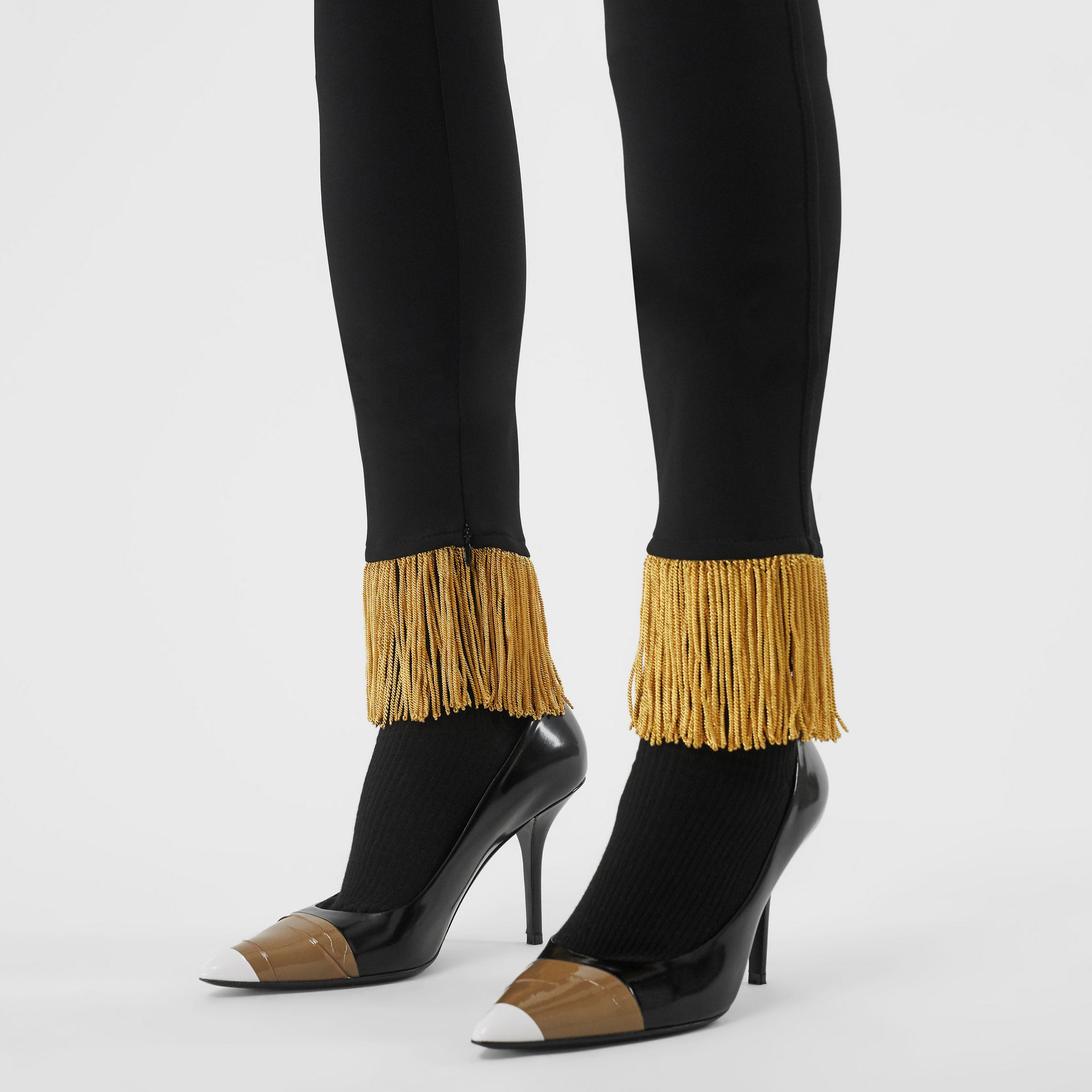 Metallic Fringe Detail Stretch Jersey Leggings in Black - Women | Burberry - gallery image 5