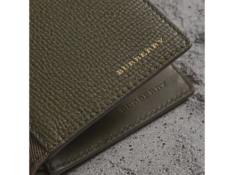 Grainy Leather and House Check Bifold Wallet in Sage - Men | Burberry - cell image 1